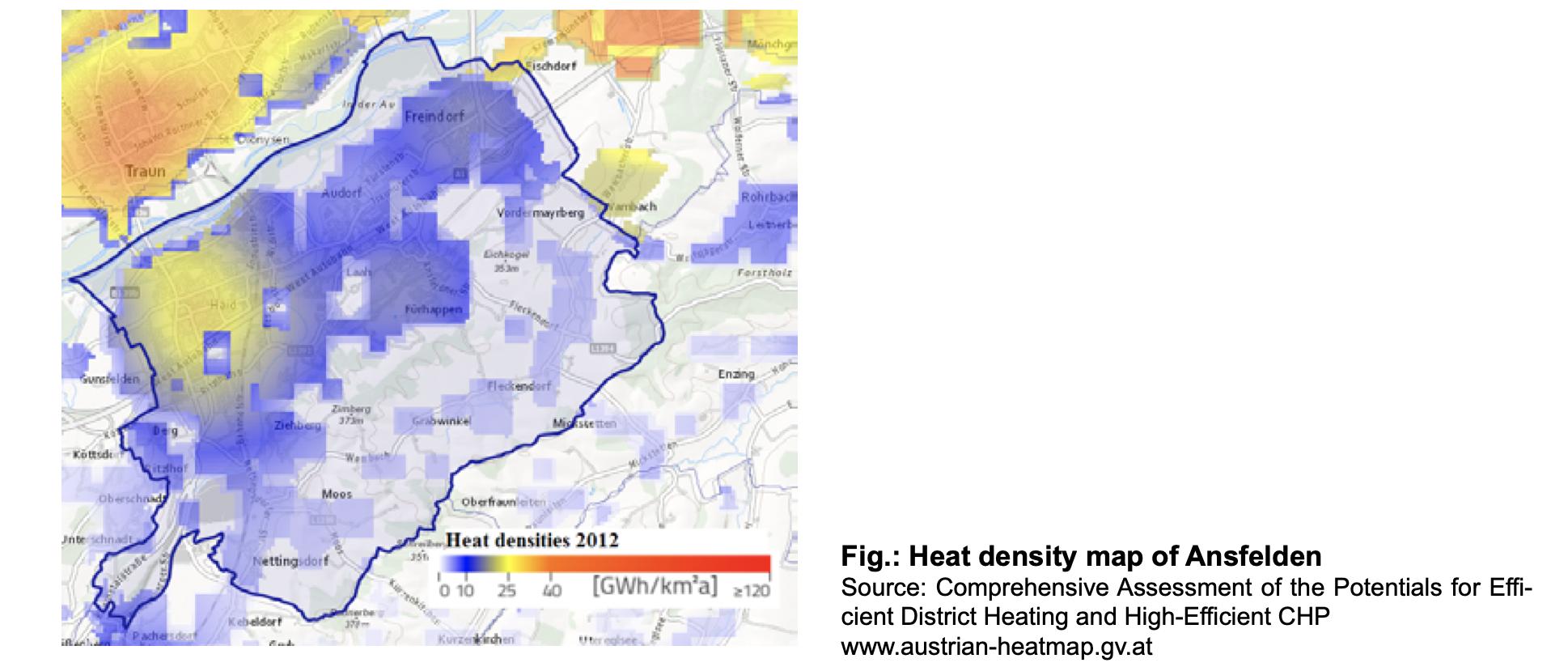 Heat density map of Ansfelden
