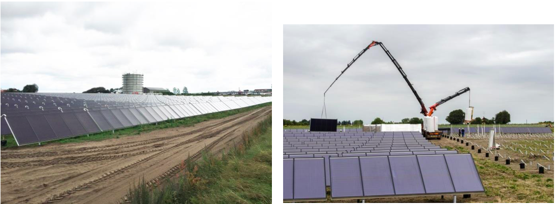 The solar district heating plant and the new tank storage under establishment in 2015 (Source: https://www.coolheating.eu/images/downloads/D2.1_Best_Practice.pdf)